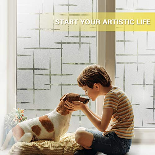 51FU1jVvL5L - Rabbitgoo Vinilo para Ventana Pegatina Blanca Privacidad Raya Película Vinilos Adhesivos para Cristales Vidrios 44.5cmx200cm