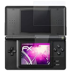 atFoliX Glasfolie kompatibel mit Nintendo DS-Lite Panzerfolie, 9H Hybrid-Glass FX Schutzpanzer Folie (1er Set)