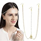 #7: Abhaah Gold Plated Pearl Chain Layer Kundan Stones Headchain/Hair Jewellery Traditional Bridal Wedding/Mangtika for Women