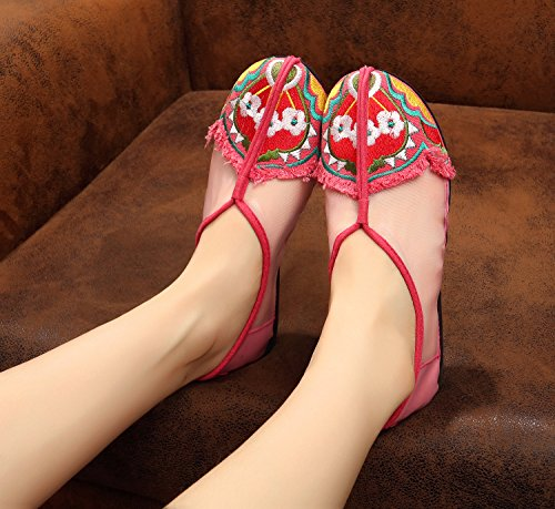 ZQ Feine bestickte Schuhe, Sehnensohle, ethnischer Stil, weibliche Schuhe, Mode, bequem, Tanzschuhe Sandalen Pink