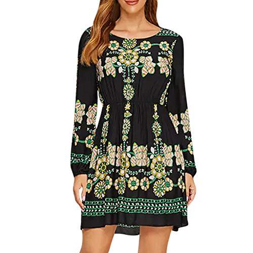 itchic moda donna stampa colletto tondo maniche lunghe coltivare se stessa vestito abito slim a manica lunga con collo rotondo stampato da donna