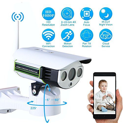 ratingsecu Pan Tilt Zoom Wifi IP Kamera Überwachung Sicherheit System Outdoor 2 MP 1080p Full HD Handy View 6?22 mm optischer Zoom Objektiv CCTV mit Audio