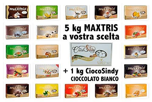 Confetti Maxtris Kit da 6 kg (5+1) a Scelta tra 100 Gusti per Confettata o Bomboniere 6kg=6pacchi (Kit 5 kg maxtris a Scelta+ 1 ciccolato bombsindy)