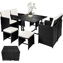 TecTake Ensemble Salon de Jardin Poly Rotin   4 chaises 4 tabouret 1 table   Housse de Protection   Vis en Acier Inoxydable - diverses couleurs au choix - (Noir   no. 402094)