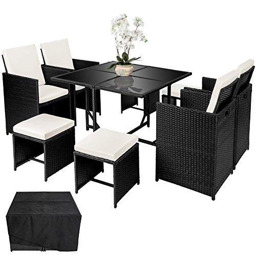 TecTake Conjunto muebles de jardín en ratán sintético comedor juego 4+4+1 + funda completa | tornillos de acero inoxidable | negro