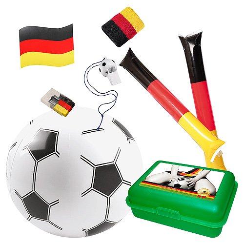 elasto Fußball WM 2018 Fanbox Ladies 7-Teilige Deutschland Starterpaket Fanpaket mit Lunchbox Klopfschlauch Automagnet Fanschminke Schweißband Pfeife Wasserball