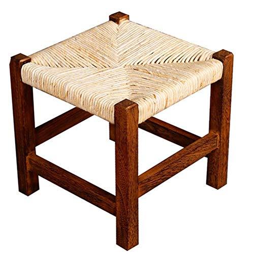 Yyqtxdz Handgewebt für Naturholz Hocker Quadrat Massivholz Einfach Maisleder Gewebt Hocker Niedriger Hocker Ändern Schuh Bank Kleiner Stuhl Multifunktionshaushalt -