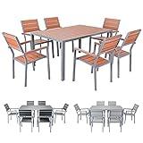 Miweba Bermuda Polywood 6+1 Aluminium Sitzgarnitur 150x100 Alu Gartenmöbel 6 Stühle Sitzgruppe Tisch Holz Gartenset (Braun)
