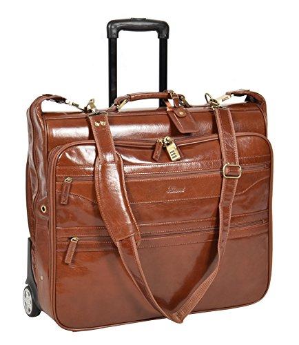 Echtes Leder Kleidertaschen Mit rädern Reisewochenende Kleidersack HOL13 Kastanie (Suiter Koffer)