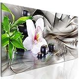 decomonkey Bilder Blumen 135x45 cm 1 Teilig Leinwandbilder Bild auf Leinwand Vlies Wandbild Kunstdruck Wanddeko Wand Wohnzimmer Wanddekoration Deko Zen Stein Orchideen Buddha Spa