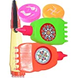 Oramsa Ready To Use Draw Rangoli Kit, Set Includes One Rangoli Pen And Two Pata Pen And Two Stamps.