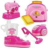 Petits électroménagers Simuler la cuisine Jeu d'Imitation Kits avec la lumière appareils ménagers jouet cadeau ornement pour les enfants filles ab 3 Jahren - Rose