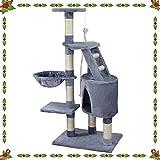 HB Kratzbaum Katzenkratzbaum Katzenbaum Spielbaum Kletterbaum mit Spielzeug und Plattformen Mittelhoch 120 cm, Grau