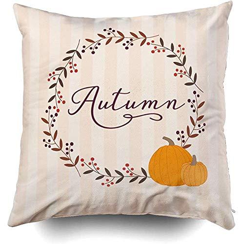 Ruthxiaoliang fodera per cuscino del divano, halloween e un autunno corona di alloro bacche decorativo quadrato accento cerniera copricuscini con stampa a doppia faccia