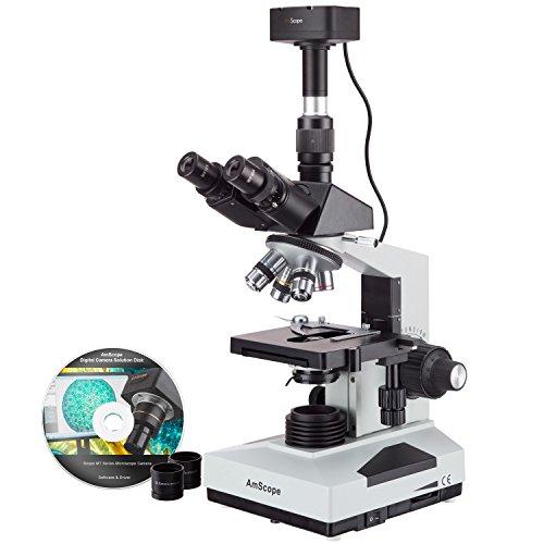 Amscope T490B-10MT 40X-2000X Trinokulares Mikroskop Anschluß für Kamera 4 Objektive mit mechanischen Kreuztisch Okulare WF10X & WF20X Labor Klinik Tierarzt + 10MP Digitalkamera