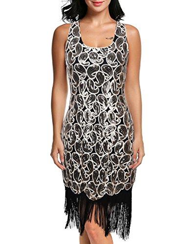 Für Mädchen Kostüme Gatsby (Kayamiya Damen 1920er Paillette Paisley Muster Franse Gatsby Kostüm Flapper-Kleid S)