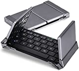 Aluminum Foldable Wireless Bluetooth Keyboard, MoKo Portable Ultra-slim Keyboard for iOS / Windows/ Android Tablet PC or iPad Mini 4 / iPad Pro / iPhone 6s / 6s Plus Smart Phone, BLACK