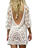 BaiShengGT Femme Mini Robes de Plage Tunique Pull Kimono Bohême Mode Dos Nu Bikini Cover Up Crochet Blouse Blanc One Size Convient à S-M