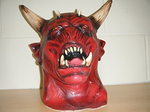 Devil Zombie Monster Hörner Horror Deluxe Halloween Voller Kopf Kostüm (Wrestling Kostüme Custom)