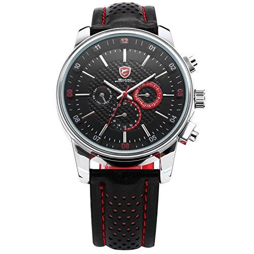 Shark Herren Armbanduhr Analog Zwei Zeitzonen 6 Zeiger Uhr Leder Band SH094