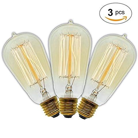Antique rétro vintage Edison Ampoule ampoule à incandescence E2740W 220V St58Art Décoration Ampoule Blanc Chaud Ampoule Lampe..., E27 40.0 wattsW 220.0 voltsV