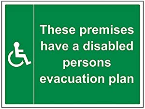 vsafety 17042bf-s disabili evacuazione piano Fire Assembly Point Mandatory Signs, vinile autoadesivo, orizzontale, 400 mm x 300 mm, colore: verde