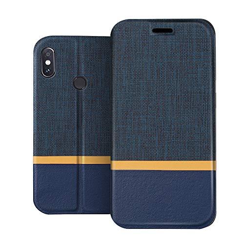 RIFFUE Funda Xiaomi Redmi Note 5, Carcasa Delgada Libro de Cuero con Tapa Cartera de Ranura y Billetera Elegante Case Cover para Xiaomi Redmi Note 5 / Note 5 Pro - Azul