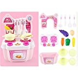 DALL Toys Cars Kitchen Playset Role Play Toy Kids Pretend Cooking Kit Food Pink Set For Children 3 Years Old