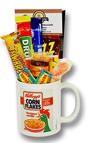 Kellogg's Cornflakes Mug with a selection 1980's Retro Sweets