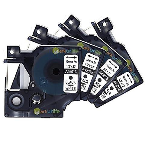 Markurlife 4PK Schriftband für Dymo d1 45013 S0720530 Etikettenband Schwarzer Druck auf Weiß Etikettenkassetten 12mm x 7m (1/2