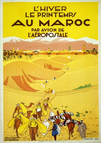 vintage-travel-morocco-and-au-maroc-par-avion-de-laeropostale-c1929-250gsm-art-card-gloss-a3-reprodu