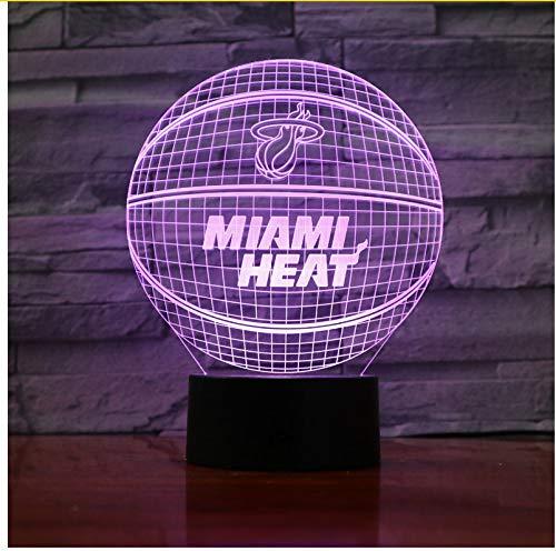 Miami Heat Basketball Acryl Lampe Sport 3D Nachtlicht Neuheit Geschenke 7 Farben ändern Led Schreibtisch Tischlampe für Jungen Geschenke -