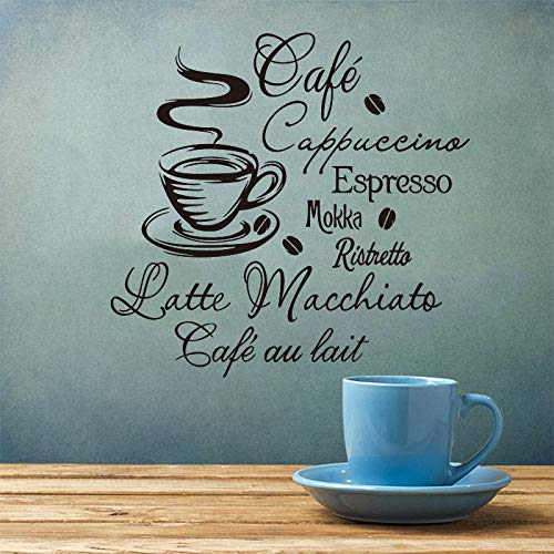 WWYJN Coffee Kitchen Vinyl Wall Stickers Kitchen Coffee Shop Removable Wall Mural Decals Home Decor House Decoration Wall Art Blue 38x40cm