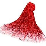VEMOW Heißer Verkauf Elegante Frauen Damen Pfingstrose Schal Sonnencreme schal Unendlichkeit Wrap Silk Täglichen Party Workout Freizeit Schal Schals(X4-Rot, 195cmX147CM)
