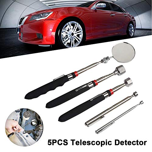 thelastplanet Inspection Mirrors Teleskop Werkzeugset Magnetic Pick-up Tool Rectangular Telescopic Inspection Mirror with LED Light 360 Swivel for Extra Viewing Pickup Dead Angle 5Pcs Magnetic Swivel