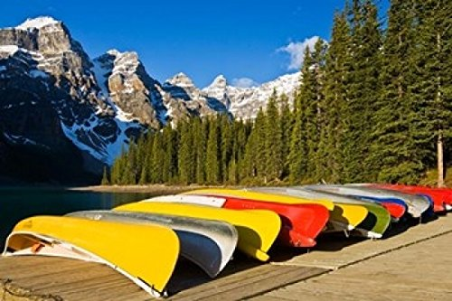 The Poster Corp Larry Ditto/DanitaDelimont - Moraine Lake and Rental Canoes Stacked Banff National Park Alberta Canada Photo Print (91,44 x 60,96 cm) -