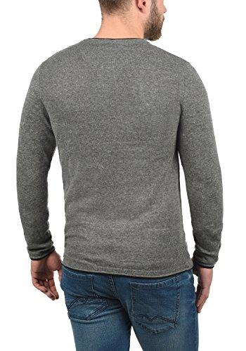 BLEND Odin Herren Feinstrick Pullover Strick-Pulli mit Rundhals-Ausschnitt aus 100% Baumwolle Pewter Mix (70817)