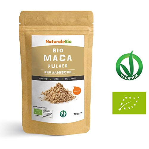 Maca Pulver Bio [ Gelatiniert ] 200g | Natürlich und Rein, hergestellt in Peru, extrakt aus Bio Maca Wurzel | Superfood reich an Aminosäuren, Ballaststoffen, Vitaminen und Mineralien | NATURALEBIO -