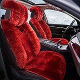 DIELIAN Australien Schaffell Autositzbezüge Echtes Fell Auto Kissen,Sitzkissen aus bestem Lammfell hochwollig , Red