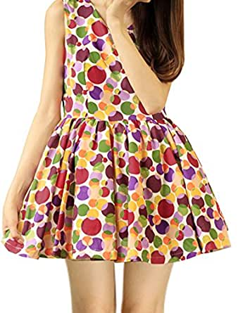 sourcingmap® Ladies V Neck Sleeveless Dots Printed Tent Dress