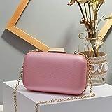 PPDJ Bankett Clutch Bag Koreanische Version Der Großen Kapazität Tragbare Einfache Kosmetiktasche Schulter Kette Clip Abendtasche Rosa 18X11X5.5Cm