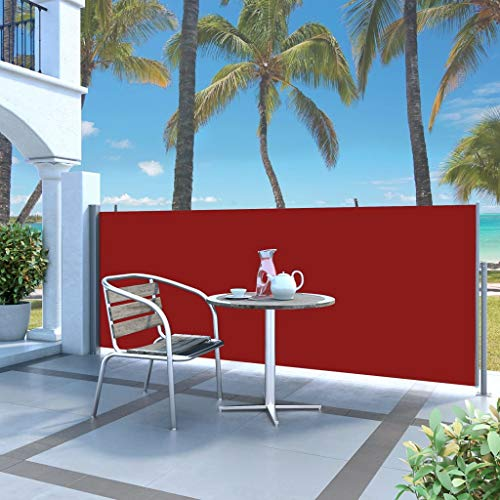 Festnight- Ausziehbare Seitenmarkise 140 x 300 cm Rot | Sichtschutz Sonnenschutz Windschutz Wasserfest | Markise für Garten Balkon Terrasse