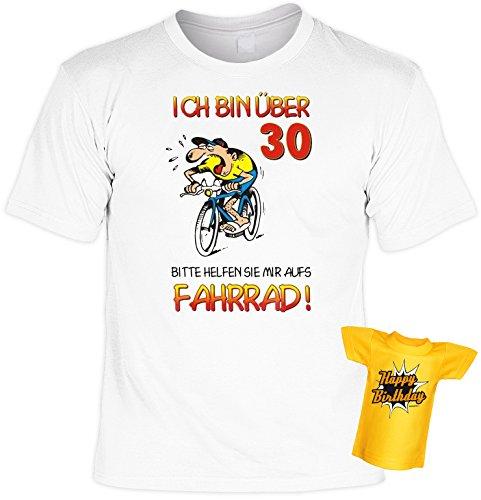 Lustiges T-Shirt zum 30. Geburtstag für das Geburtstagskind 30 Jahre Fahrradfahrer mit Gratis Mini-Shirt Set 30 Geburtstag Geschenk 30 Jahre Weiß