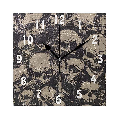 DOSHINE Wanduhr, Vintage-Stil, Totenkopf, Halloween, Tag lautlos, Nicht tickend, für Schlafzimmer, Wohnzimmer, Küche, Heimdekoration