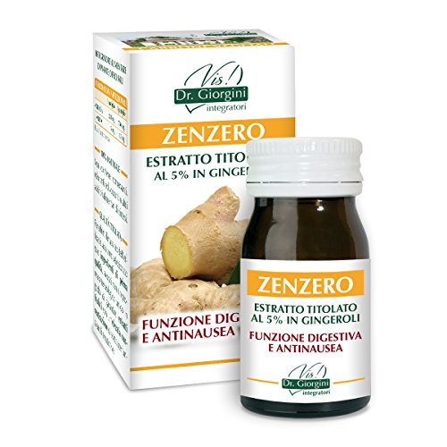 Dr. Giorgini Integratore Alimentare, Monocomponenti Erbe Zenzero Estratto Titolato al 5% in Gingeroli Pastiglie - 30 g