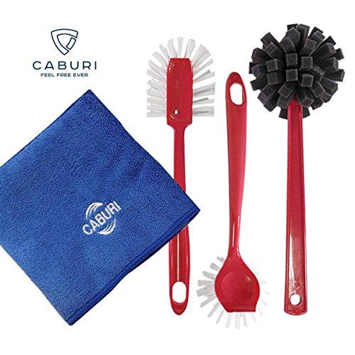 3 Spülbürsten (rot) / 1 Microfasertuch | (4-teilig) CABURIclean Set. Nr. 16 | 3 x Bürsten (für Töpfe, Pfannen, Gläser, Flaschen etc.) + 1 x Mikrofaser-Reinigungstuch (40 x 60 cm in blau)