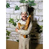 Statue Chefkoch 38x10x8cm mit Baguette Deko Figur Kochen Koch Küche Polystone