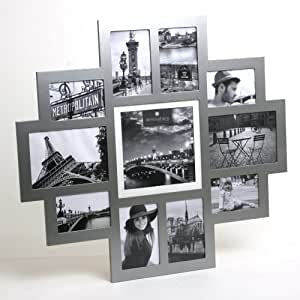Cadre photo pêle-mêle mural coloris gris métallisé capacité 11 photos