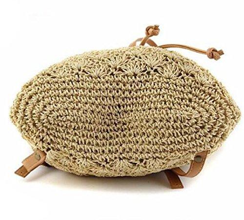 Hand Weben Rucksack Handtasche Doppelter Zweck Strohbeutel Beiläufige Tasche Strandtasche Beige