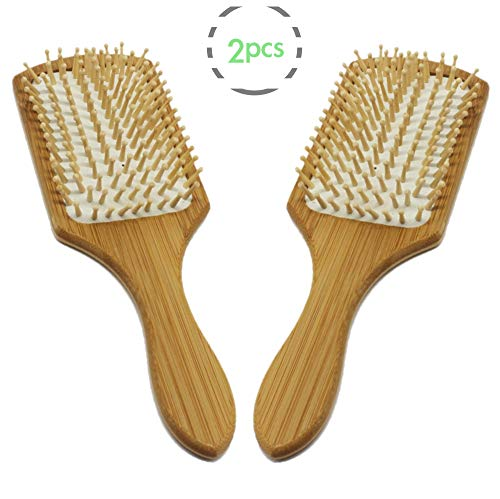 FYD Natural Bamboo Wooden Paddle Hair Brush Eco-Friendly Bamboo Bristle Detangling Hairbrush Massage Scalp Reduce Frizz - Eco-friendly Hair Brush